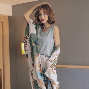 DHgate 2021 new autumn ladies pajama cotton satin 4pcs set cardigan+vest+pants+shorts floral printed elegant femme tender sleepwear homewear 2k3f
