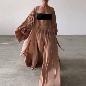 DHgate new fashion casual 3 pice set women homewear elegant lantern sleeve cardigan +wide leg pants suits 2021 female loose soft outfit b6cu