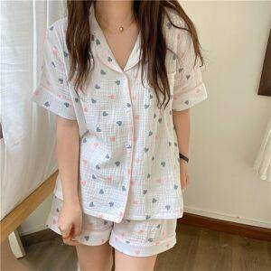 DHgate women's sleepwear 2021 linen cotton femme chic girls loose printing hearts all match homewear two piece pajamas sets gkvy