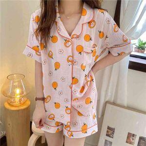 DHgate women's sleepwear all match comfortable 2021 gentle printed oranges summer casual loose cotton homewear two piece pajamas sets hcu