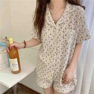 DHgate women's sleepwear 2021 florals stylish outwear brief summer printing chic all match homewear two piece pajamas sets d0s3
