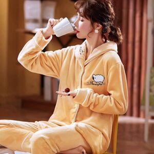 DHgate women's sleepwear winter homewear flannel pajamas set women cartoon pajama button full sleeve shirt pant big size 0gm4