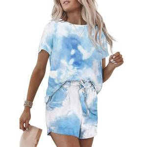 DHgate sleeve short summer new tie dyeing fashion can go out housewear women's pajamas suit
