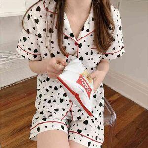 DHgate women's sleepwear hearts printing cotton chic soft all match stylish femme summer homewear two piece pajamas sets rxww