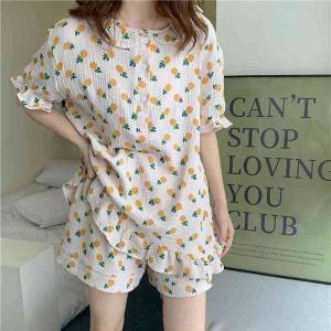 DHgate women's sleepwear soft cotton comfortable homewear all match printed casual 2021 summer loose gentle two piece pajamas sets n47y