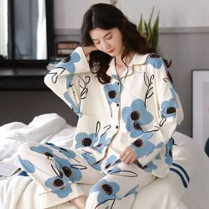 DHgate 2021pajama sets women kawaii lace girls sleepwear stylish korean ins mujer nightwear patchwork long sleeve spring basic soft college