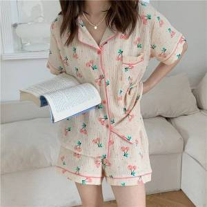 DHgate women's sleepwear 2021 stylish comfortable loose homewear cotton chic femme sweet casual soft printed summer pajamas sets 1mla