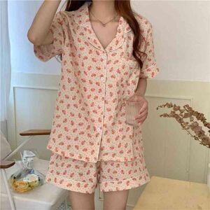 DHgate women's sleepwear korean cotton stylish sweet 2021 minimalist floral brief soft summer femme chic comfortable pajamas sets edqz