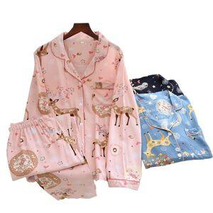 DHgate women's sleepwear 2021 spring pajamas set elegant floral print full-sleeve cotton pants summer fall thin mosquito-proof loose