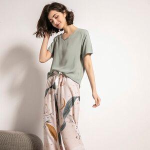 DHgate women's sleepwear 2021 spring new women pajamas set comfort grey green loose starry sky printed simple style homewear casual wear