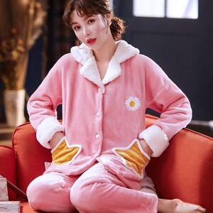 DHgate women's sleepwear sweet winter homewear flannel big pajamas set women cartoon pajama button full sleeve shirt pant rli8