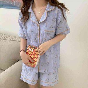 DHgate women's sleepwear 2021 comfortable girls thin printing fashion summer femme sweet casual cotton soft loose pajamas sets kkcr