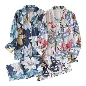 DHgate women's sleepwear 2021 spring summer cotton satin full sleeved cardigan+pants flower-shaped pajamas set lapeled thin & cool 2pcs h