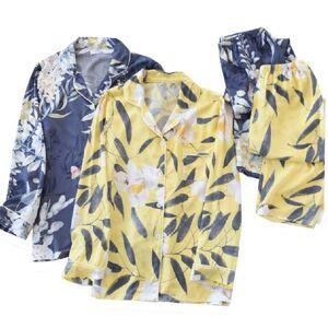 DHgate women's sleepwear 2021 ladies cotton full-sleeve 2pcs floral printed pajamas set spring summer thin cardigan+pants lapel homewea u