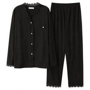 DHgate women's sleepwear 100% cotton black pajamas set women 2piece/set mom female pyjama big pjs home soft princess lace v-neck hi0