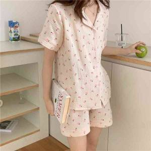 DHgate women's sleepwear 2021 chic summer femme sweet florals comfortable girls casual homewear cotton soft loose pajamas sets 3fed