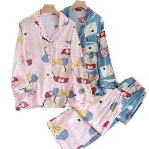 DHgate women's sleepwear soft rayon 2021pajamas set for spring summer cute colofrul cartoons printed ladies sweet long-sleeve+pants 2pcs