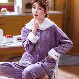 DHgate women's sleepwear lace pajamas flannel winter sweet set women pajama button full sleeve shirt pant thick warm homewear 4pr1