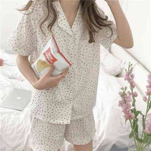 DHgate women's sleepwear homewear roses stylish femme summer printing cotton chic soft all match two piece pajamas sets bnvo