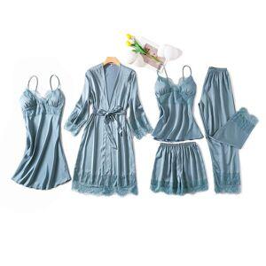 2021 womens silk satin pajamas sets strap sleepwear 5 pieces sets female lace lounge pyjama with chest pads home wear