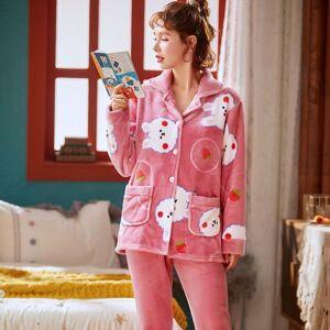 DHgate women's sleepwear flannel winter pajamas set women cartoon pajama button full sleeve shirt pant thick warm homewear rs48