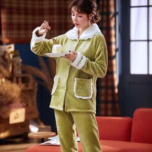 DHgate women's sleepwear green pajamas flannel winter sweet set women pajama button full sleeve shirt pant thick warm homewear e6n8