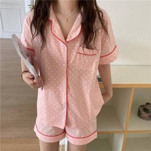 DHgate women's sleepwear cotton homewear printed hearts all match 2021 gentle summer casual loose two piece pajamas sets 75q
