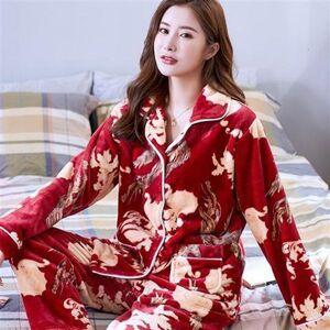 DHgate women's sleepwear winter flannel pajamas set women cartoon pajama 2piece/suit full sleeve pant lingerie homewear mb64