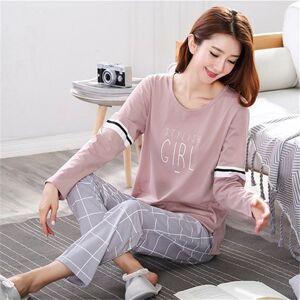 DHgate women's sleepwear pyjamas 2021 autumn long sleeve cotton home clothes night suit two piece plus size ladies pajamas set 5xl 1kt2