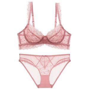 DHgate bras sets 2021 ultra thin transparent lace bra suit big chest shows small women's large size underwear
