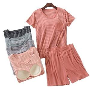 DHgate women's sleepwear 2021 summer new ladies striped household pajamas set 2pcs short sleeve+shorts comfort rayon casual wear with che