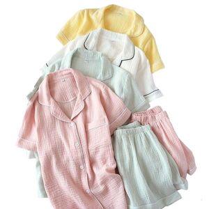 DHgate women's sleepwear 2021 summer new ladeis sweet candy color gauze cotton solid pajamas set short sleeve+pants women cute homewear c