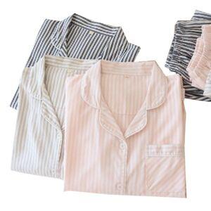 DHgate women's sleepwear 2021 spring and fall ladies soft gauze cotton pajamas set comfort men women 2pcs loose thin homewear lovers l0rh