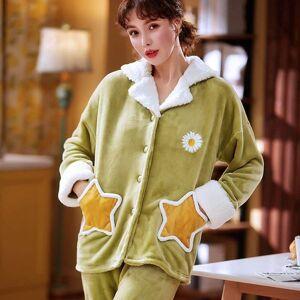DHgate women's sleepwear green pajamas flannel winter set women cartoon pajama button full sleeve shirt pant homewear sdm3