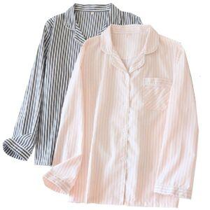 DHgate women's sleepwear 2021 spring fall couples pajamas set soft loose cotton gauze striped homewear plus size simple style full sleeve