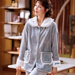 DHgate women's sleepwear solid color pajamas flannel sweet lace set women pajama button full sleeve shirt pant thick warm pjs k3if