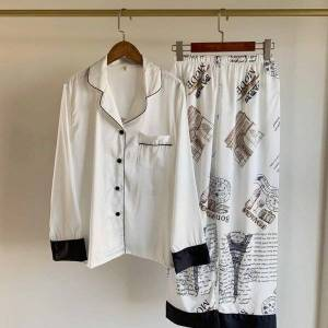 DHgate women's sleepwear pajamas set spring print women long sleeve & bottoms pjs loose casual loungewear trousers suits 2 pieces hom