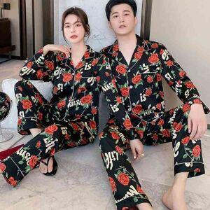 DHgate women's sleepwear black print flower 2pcs spring lovers pajamas set trouser suits for women long sleeve button-down satin home clo