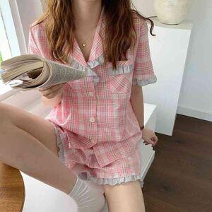 DHgate women's sleepwear sweet plaid soft casual homewear students loose 2021 summer nightwear chic femme two piece suit sets pajamas ksr