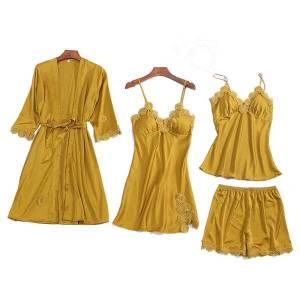 DHgate summer 2021 women pajama sets 4 pcs pyjamas women lace satin sleepwear elegant silk pijama with chest pads nightwear