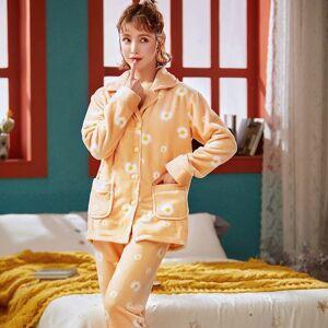 DHgate women's sleepwear winter button pajamas flannel set women cartoon pajama full sleeve shirt pant thick warm big homewear tqv7