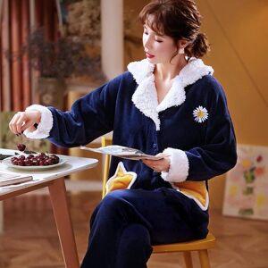 DHgate women's sleepwear fashion pajamas flannel winter fower set women pajama button full sleeve shirt pant homewear big 11fz