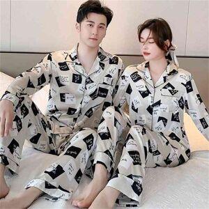DHgate women's sleepwear pajamas set faux silk satin couple print women trouser suits spring summer lovers pijamas suit loose & botto