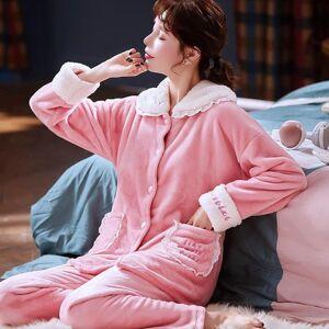 DHgate women's sleepwear princess flannel pink pajamas winter set women pajama full sleeve button shirt homewear big size 2hkn