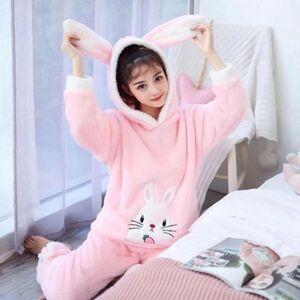 DHgate women's sleepwear hooded flannel pajamas set warm women cartoon cute rabbit ears homewear long sleeve pant big size fj7q