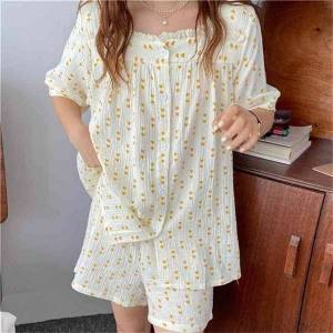 DHgate women's sleepwear nightwear cotton yarn sweet soft chic 2021 summer loose casual printed heart homewear two piece suit pajamas set