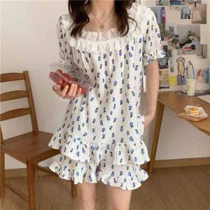 DHgate women's sleepwear arrival printing stylish 2021 summer casual femme pajama suits loose women cotton two piece sets lzbm