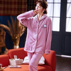 DHgate women's sleepwear cute sheep pajamas flannel winter set women pajama button full sleeve shirt pant homewear big aww5