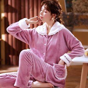 DHgate women's sleepwear winter pajamas lace neck flannel sweet set women pajama button full sleeve shirt pant thick warm pjs bldp