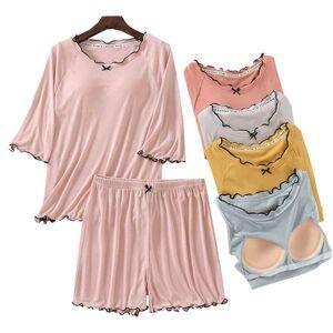 DHgate women's sleepwear 2021 summer women simple style comfort large size 2pcs pyjamas set ladies solid soft household cute ruffled shor